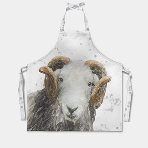 """Stanley"" The Herdwick Ram (Grey Background) Apron - Andy Thomas Artworks"