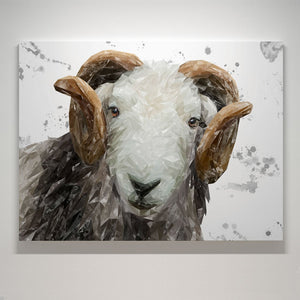 """Stanley"" The Herdwick Ram (Grey Background) Canvas Print - Andy Thomas Artworks"