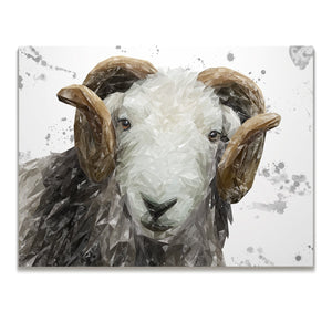 """Stanley"" The Herdwick Ram (Grey Background) Skinny Canvas Print"