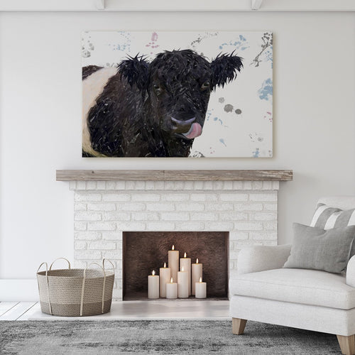 """Eugene"" The Belted Galloway Cow Massive Canvas Print"