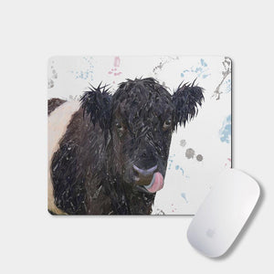 """Eugene"" The Belted Galloway Cow Mousemat - Andy Thomas Artworks"