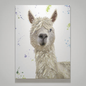 """Rowland"" The Alpaca Large Canvas Print - Andy Thomas Artworks"