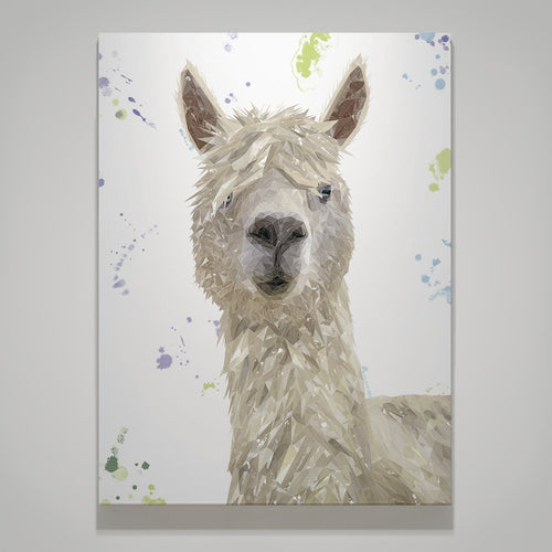 """Rowland"" The Alpaca Large Canvas Print"