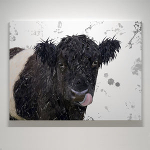 """Eugene"" The Belted Galloway Cow (Grey Background) Medium Canvas Print - Andy Thomas Artworks"
