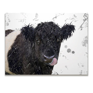 """Eugene"" The Belted Galloway Cow (Grey Background) Skinny Canvas Print - Andy Thomas Artworks"