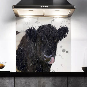 """Eugene"" The Belted Galloway Cow (Grey Background) Kitchen Splashback"