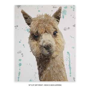 """Alice"" The Alpaca 10"" x 8"" Unframed Art Print - Andy Thomas Artworks"