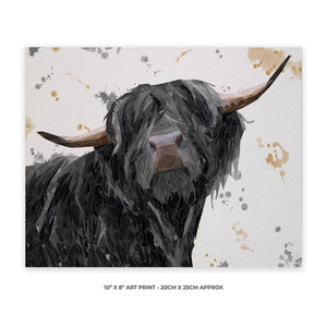 """Barnaby"" The Highland Bull 10"" x 8"" Unframed Art Print - Andy Thomas Artworks"