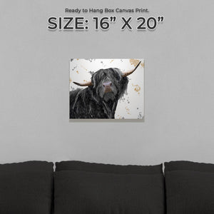 """Barnaby"" The Highland Bull Small Canvas Print - Andy Thomas Artworks"