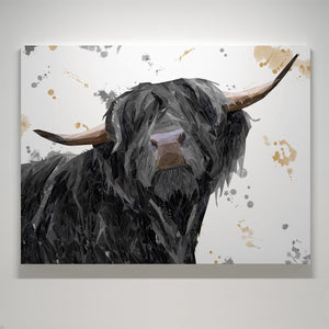 """Barnaby"" The Highland Bull Large Canvas Print - Andy Thomas Artworks"