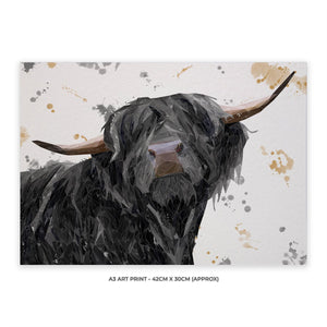 """Barnaby"" The Highland Bull A3 Unframed Art Print - Andy Thomas Artworks"
