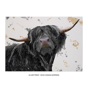"""Barnaby"" The Highland Bull A4 Unframed Art Print - Andy Thomas Artworks"