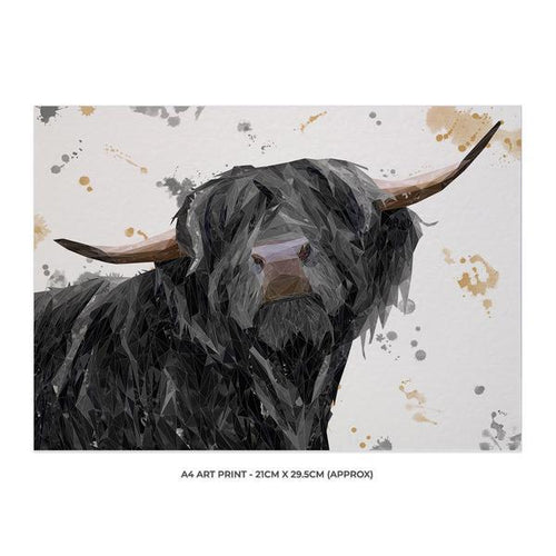 """Barnaby"" The Highland Bull A4 Unframed Art Print"
