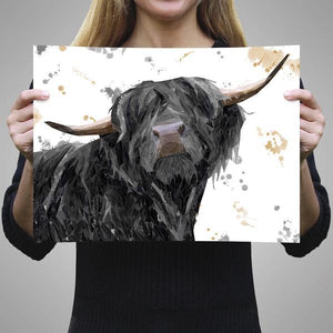 """Barnaby"" The Highland Bull A2 Unframed Art Print - Andy Thomas Artworks"