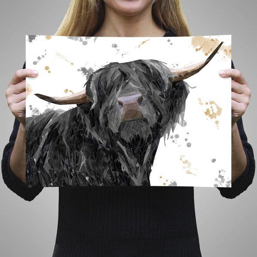 """Barnaby"" The Highland Bull A1 Unframed Art Print"