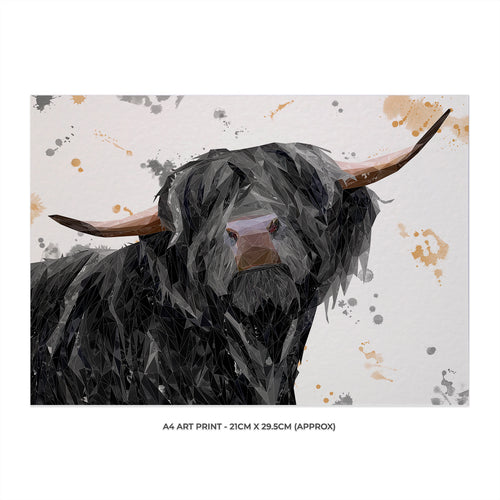 """Barnaby"" The Highland Bull Unframed Art Print"