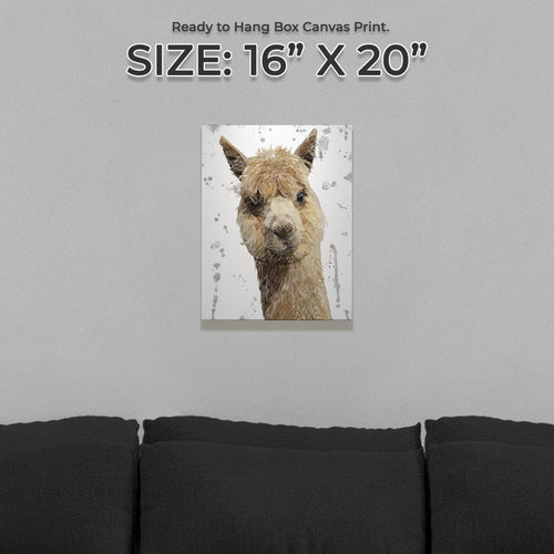 """Alice"" The Alpaca (Grey Background) Small Canvas Print"