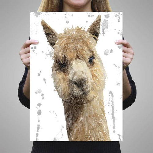 """Alice"" The Alpaca (Grey Background) A2 Unframed Art Print"