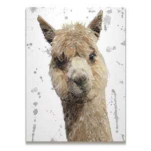 """Alice"" The Alpaca (Grey Background) Skinny Canvas Print - Andy Thomas Artworks"