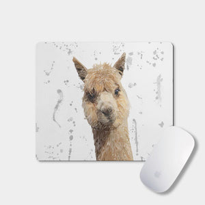 """Alice"" The Alpaca (Grey Background) Mousemat - Andy Thomas Artworks"