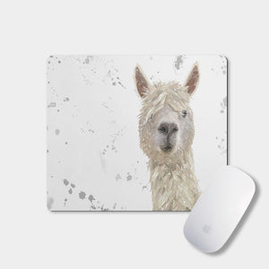 """Rowland"" The Alpaca (Grey Background) Mousemat - Andy Thomas Artworks"