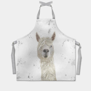 """Rowland"" The Alpaca (Grey Background) Apron - Andy Thomas Artworks"