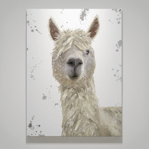 """Rowland"" The Alpaca (Grey Background) Large Canvas Print"