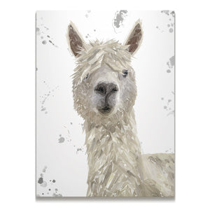 """Rowland"" The Alpaca (Grey Background) Skinny Canvas Print"