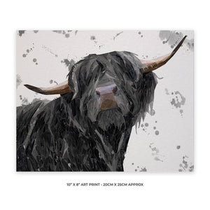 """Barnaby"" The Highland Bull (Grey Background) 10"" x 8"" Unframed Art Print - Andy Thomas Artworks"
