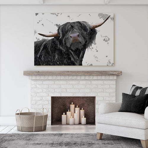 """Barnaby"" The Highland Bull (Grey Background) Massive Canvas Print"