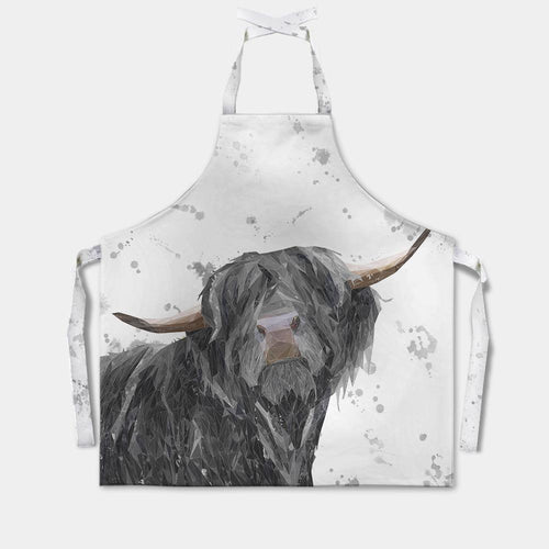 """Barnaby"" The Highland Bull (Grey Background) Apron"