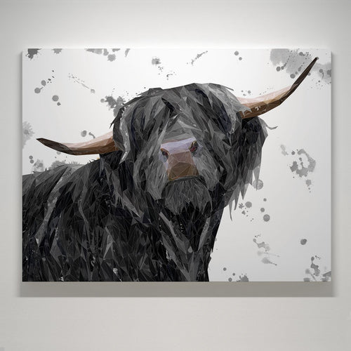 """Barnaby"" The Highland Bull (Grey Background) Small Canvas Print"