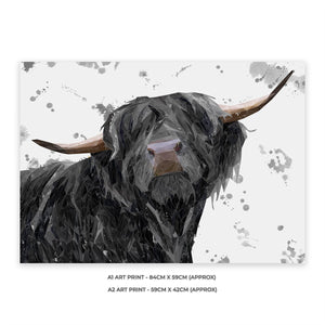 """Barnaby"" The Highland Bull (Grey Background) A1 Unframed Art Print - Andy Thomas Artworks"