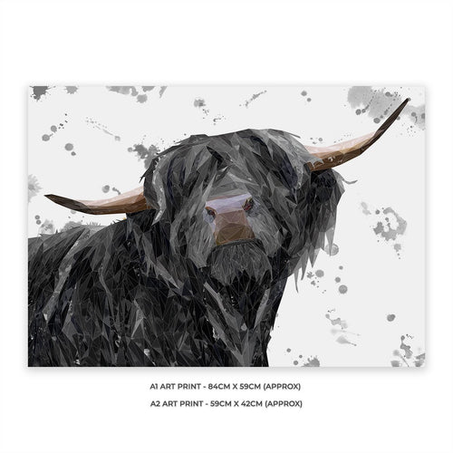 """Barnaby"" The Highland Bull (Grey Background) A1 Unframed Art Print"