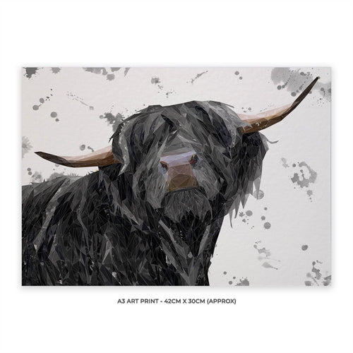 """Barnaby"" The Highland Bull (Grey Background) A3 Unframed Art Print"