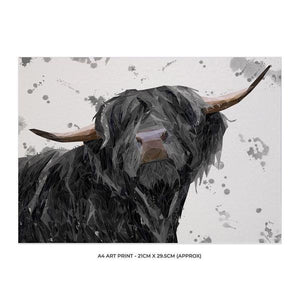"""Barnaby"" The Highland Bull (Grey Background) A4 Unframed Art Print - Andy Thomas Artworks"