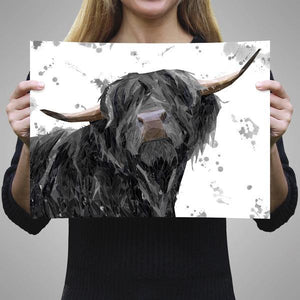 """Barnaby"" The Highland Bull (Grey Background) A3 Unframed Art Print - Andy Thomas Artworks"