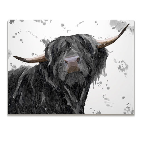"""Barnaby"" The Highland Bull (Grey Background Skinny Canvas Print"