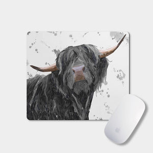 """Barnaby"" The Highland Bull (Grey Background) Mousemat - Andy Thomas Artworks"