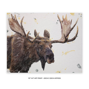 """Maurice"" The Moose 10"" x 8"" Unframed Art Print - Andy Thomas Artworks"