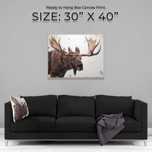 """Maurice"" The Moose Large Canvas Print"