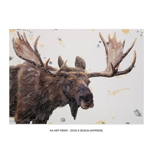 """Maurice"" The Moose A4 Unframed Art Print - Andy Thomas Artworks"