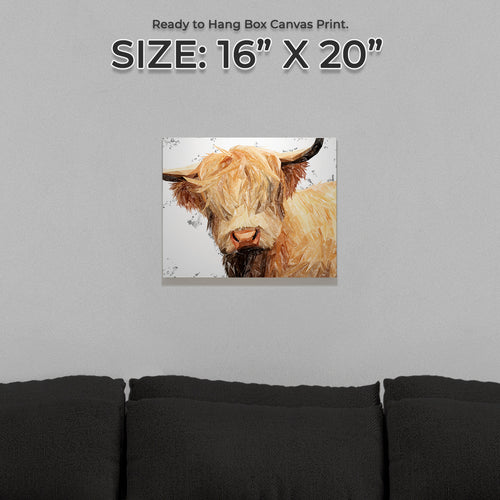 """Brenda"" (Grey Background) The Highland Cow Small Canvas Print"