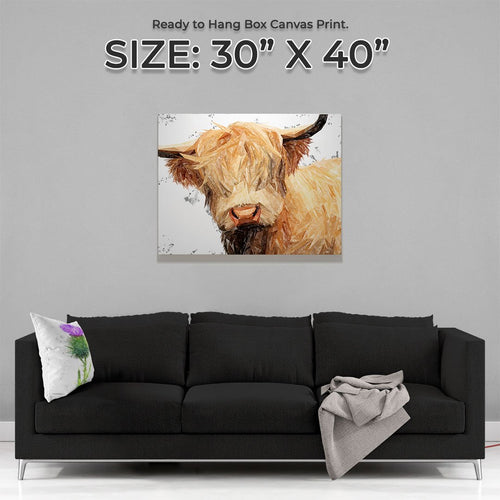 """Brenda"" (Grey Background) The Highland Cow Canvas Print"