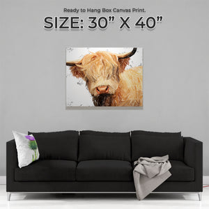 """Brenda"" (Grey Background) The Highland Cow Large Canvas Print - Andy Thomas Artworks"