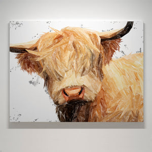 """Brenda"" (Grey Background) The Highland Cow Small Canvas Print - Andy Thomas Artworks"