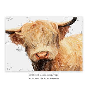 """Brenda"" (Grey Background) The Highland Cow A1 Unframed Art Print - Andy Thomas Artworks"