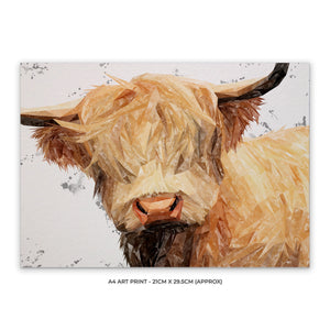 """Brenda"" (Grey Background) The Highland Cow A4 Unframed Art Print - Andy Thomas Artworks"