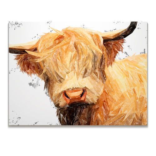 """Brenda"" (Grey Background) The Highland Cow Skinny Canvas Print"