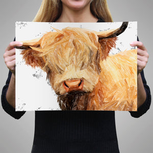 """Brenda"" (Grey Background) The Highland Cow A3 Unframed Art Print - Andy Thomas Artworks"